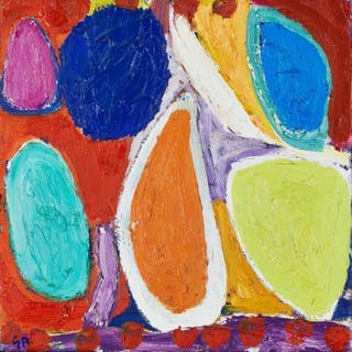 Gillian Ayres CBE RA, British 1930-2018- Silk Road III, 1995-96; oil