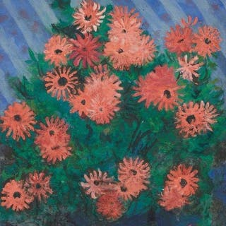Lady Joan Zuckerman, British 1918-2000- Pink Asters; gouache on board