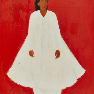 Aneela Majid, British b. 1963- Woman in white; oil on canvas, 183x152cm