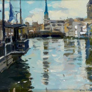 Ken Howard OBE RA, British b.1932- Limmat Composition I, 2013; oil