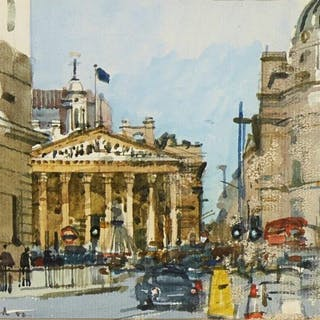 Ken Howard OBE RA, British b.1932- Royal Exchange from Bank Station