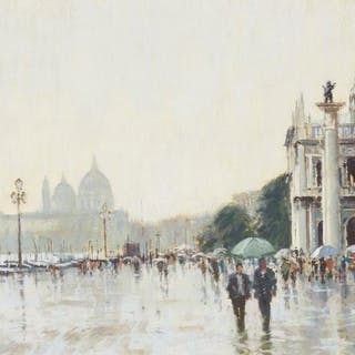 James Longueville PS RBSA, British b. 1943- Rainy Day, Venice; pastel