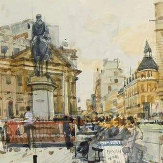 Ken Howard OBE RA, British b.1932- Royal Exchange, 1982; watercolour