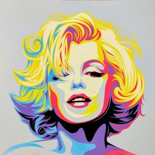 Rourke Van Dal, British b. 1969- Monroe, 2017; stencil and spray paint