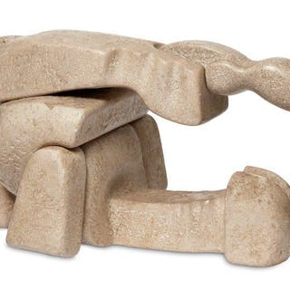 British School, mid 20th century- Abstract stone sculpture in three