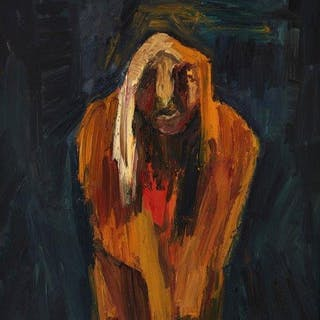 Edward Dutkiewicz, British 1961-2007- Tiresias, 1990; oil on board