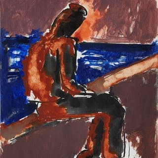 Josef Herman OBE RA, Polish/British 1911-2000- Untitled - Seated on