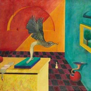 David Grice, British b.1946- Surrealist painting, 1970; oil on board