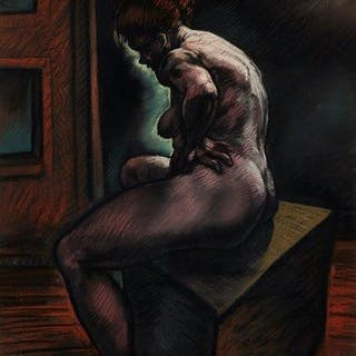 Peter Howson OBE, Scottish b.1958- Rosie, 1986; pastel on paper, signed