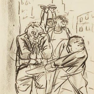Peter Howson OBE, Scottish b.1958- The Street Parade; conte crayon