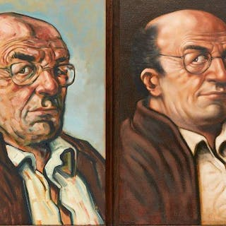 Peter Howson OBE, Scottish b.1958- Portrait of Bob Heller; oil on