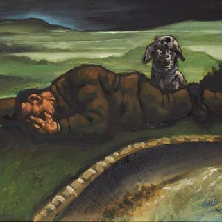 Peter Howson OBE, Scottish b.1958- Last Man On Earth, 1989; oil on