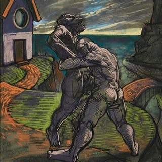 Peter Howson OBE, Scottish b.1958- The Fight, 1994; pastel on paper