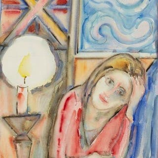 Michael Rothenstein RA, British 1908-1993- The Candle; watercolour