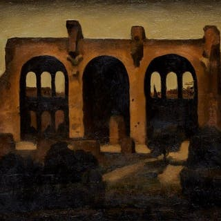 Renny Tait, Scottish b.1965- Basilica of Maxentius, 1992; oil on board