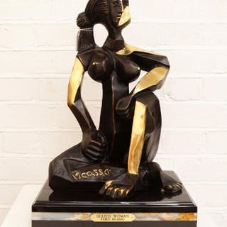 Style of Pablo Picasso-Seated woman, 2007; bronze with a granite base
