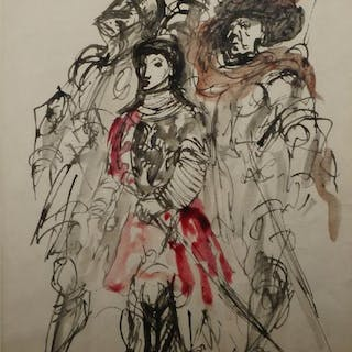 Feliks Topolski RA, Polish/British 1907-1989- Joan; watercolour on