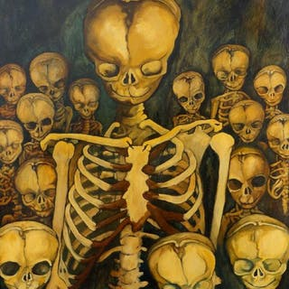 Charlie Pi, British 20th/21st century- Skeleton painting, oil on canvas