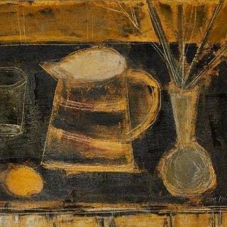 Tony O'Malley HRHA,Irish 1913-2003-Still-life with vase and lemon