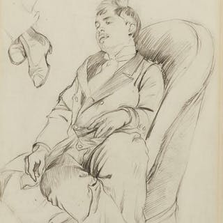 Alphonse Mucha, Czech 1860-1939- Young Man Seated on an Armchair