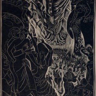 Leon Underwood, British 1890-1975- Masquerade, 1926; wood engraving