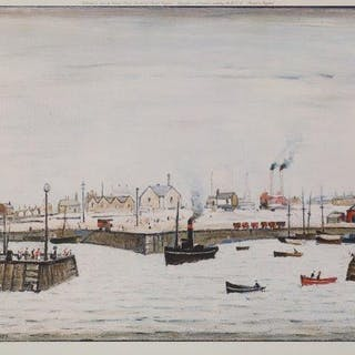 Laurence Stephen Lowry RBA RA, British 1887-1976- The Harbour, 1972;