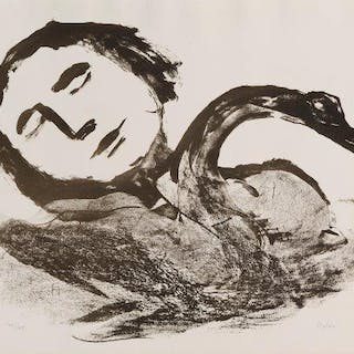 Sir Sidney Nolan OM AC, Australian 1917-1992- Leda and the Swan, 1961;