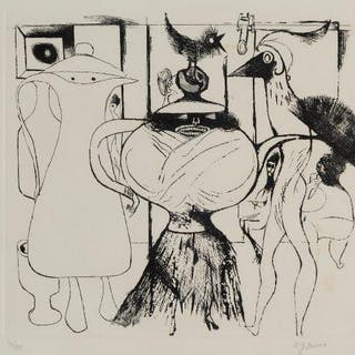 Edward Burra, British 1905-1976- Surreal Cafe, 1972; etching on wove