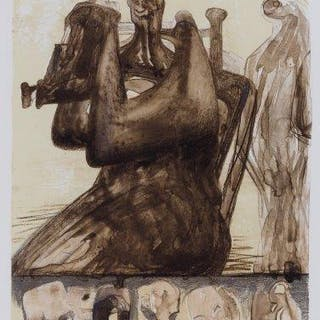 Henry Moore OM CH FBA, British 1898-1986- Mother and Child with Border