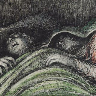 After Henry Moore OM CH FBA, British 1898-1986- Pink and Green Sleepers