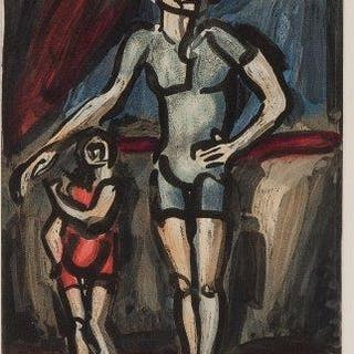 Georges Rouault, French 1871-1958- Clown et Enfant, 1930; aquatint