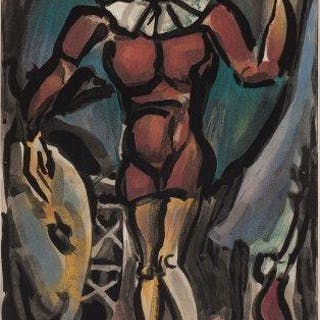 Georges Rouault, French 1871-1958- Le Clown a la Grosse Caisse, 1930;