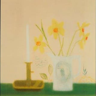 Craigie Aitchison DBE RSA RA, Scottish 1926-2009- Daffodils and Candlestick