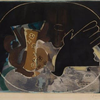 After Georges Braque, French 1882-1963- Pichet et oiseau [Maeght 1005]