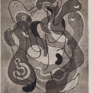 Nassos Daphnis, Greek/American 1914-2010- Flirtation, 1948; etching