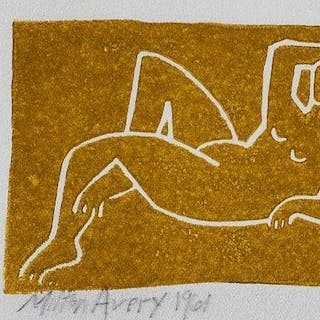 Milton Avery, American 1885-1965, Untitled (Nude), 1961; linocut in