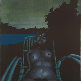 Paul Wunderlich, German 1927-2010- Twilight (wicker chair), 1971;