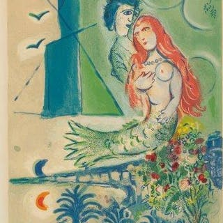 After Marc Chagall, Russian/French 1887-1985- Sirène au Poète [Sorlier
