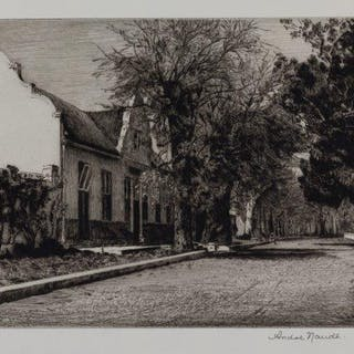 Andre Naude, South African b.1950- The Shady Road, Vergelegen; etching