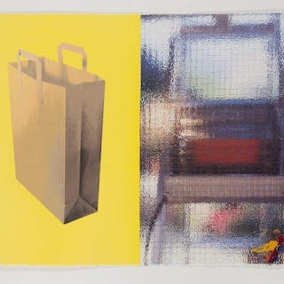 Tim Mara, Irish 1948-1997- Wire Glass and Carrier Bag, 1996; lithograph