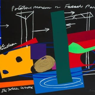 Bruce Mclean, Scottish b.1944- Facade Park, 1998; two-part screenprint