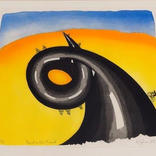 Patrick Hughes, British b.1939- Bend in the Road, 1988; lithograph