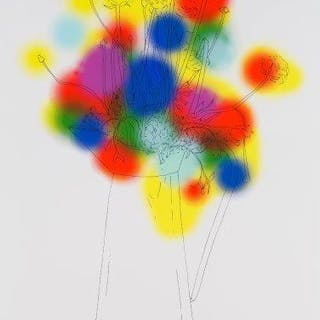 Nicolas Party, Swiss b.1980- Flowers and a Few Colours, 2013; screenprint