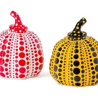 Yayoi Kusama, Japanese b.1929- Pumpkin, 2016; two painted cast resin