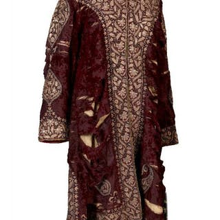 A purple velvet coat with gilt metal thread and sequined borders