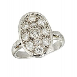 A diamond oval cluster ring, the pave-set diamonds to openwork gallery