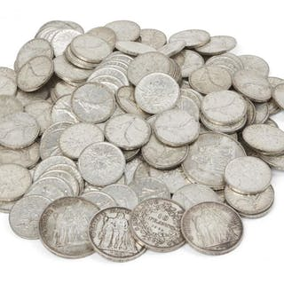 A large collection of silver 5 Franc coins (1960-1969) together with