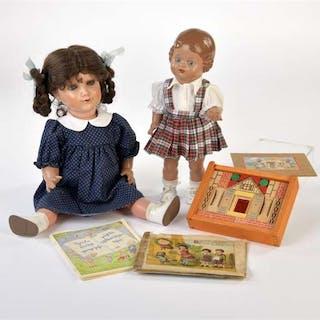 Konvolut mit 2 Schildkröt Puppen, Kinderbücher + Legespiel