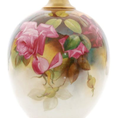 An early 20th Century Royal Worcester shape 1846 vase of footed...