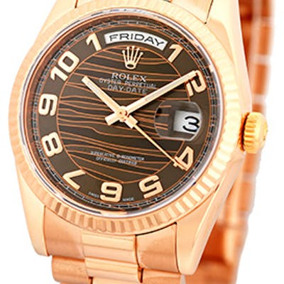 "New Style Gent's 18K Rose Gold Rolex ""Day-Date"" President"